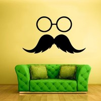 Wall Vinyl Sticker Decals Hipster Glasses Dorm Decor Fashion Trendy Eyewear Specs Frames Sunglasses Mustache (Z1995)