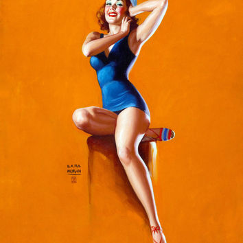 Pin-Up Girl Wall Decal Poster Sticker - Sitting Pretty (Up and Cunning), circa 1943 - Red Hair Redhead Pinup Pin Up