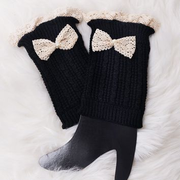 Leg Warmer Knit Boot Sock - Black