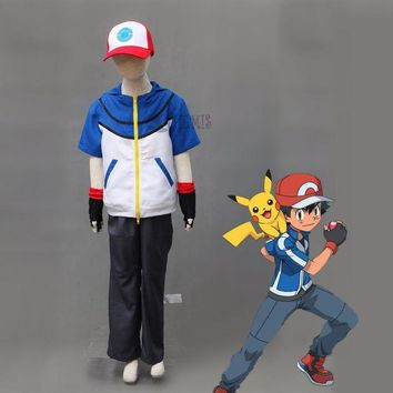 LMFON Athemis Ash Ketchum cosplay  Pokemon Pocket Monster BW-Ash Katchum cosplay costume any size custom made