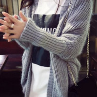 Gray Collarless Long Sleeve Knitted Cardigan