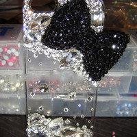 Bling black bow iPhone 4S iphone 5 made with Swarovski Diamond Crystal