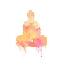 Framed Art Print, Buddha art print, zen watercolor home decor, GICLEE PRINT on canvas, orange yellow pink relaxing wall art decoration