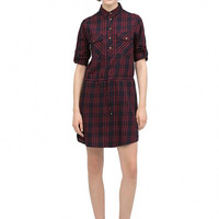Checked Shirt Dress With Drawstring Waist