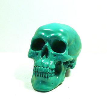 skull head, kelly green pistachio, spooky, skulls, modern home decor, halloween, creepy, october, autumn, heads