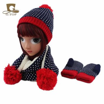 kids children Knit Hat Scarf  Gloves 3 pcs winter set  for girls boys snowflake pattern style