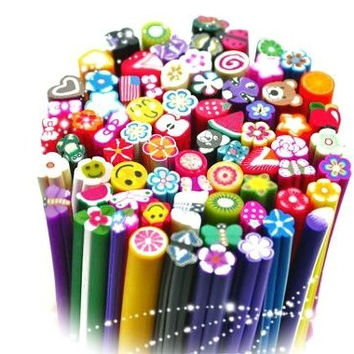 100Pcs Nail Art Canes 3D Nail Stickers Decoration Polymer Clay Fruit Beauty Nail Foil Sticks On Nails Adesivo Para Unhas 1775|26601 = 1745709828