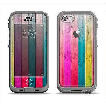 The Vibrant Neon Colored Wood Strips Apple iPhone 5c LifeProof Nuud Case Skin Set