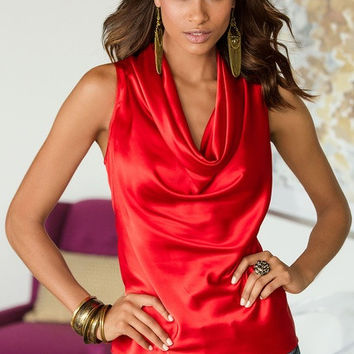 Red Sleeveless Cowl Neck Top