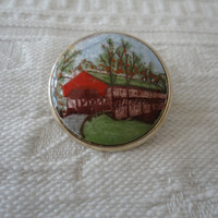 Vintage Hand Painted Glass Domed Covered Bridge Brooch Pin