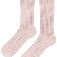 Luxe Cable Ankle Socks - Rose