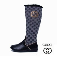 Fashion Online Gucci Fashion Leather High Boot Flats Shoes