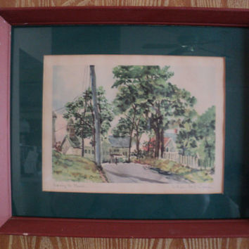 Watercolor Art Print, Signed by Artist William McK Spierer, Going To Church, Original Wood Frame, Cottage Chic, Mid Century Art