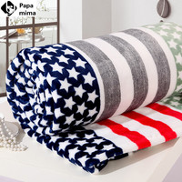 2016 newest blanket white pentagram red white stripe soft flannel four size spring/autumn double-faced Air conditioning blanket