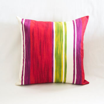 Colorful Striped Decorative Pillow, Cushion Cover, Cotton Pillow Case, Handmade Pillow Case,Two Side Pillow