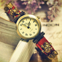 Handmade Wristwatch Wrist Watches Skull Vintage Ladies Girls Womens Mens Leather Bangle Bracelet Quartz (WAT0033-RED)