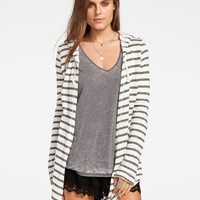 Full Tilt Striped Womens Hooded Wrap Cream Combo  In Sizes