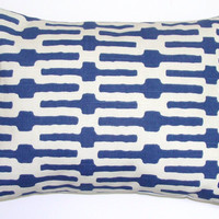 Pillow.Blue.12x16 or 12x18 inch Decorator Lumbar Pillow Cover.Printed Fabric Front and Back
