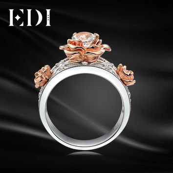 EDI Classic Design 0.8CT Round Cut Simualted Diamond Ring For Women 10k Rose White Gold Flower Engagement Rings Fine Jewelry