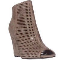 Ash June Peep Toe Perforated Wedge Ankle Boots - Taupe