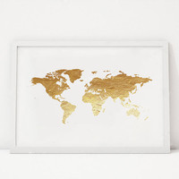 PRINTABLE Art, World Map, Gold Map, World Ma Poster,Office Decor,Office Wall Art,Printable Art,Gold Foil,Gold Print,Wall Art,Dorm Decor