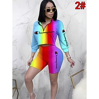 Champion Newest Women Casual Gradient Short Sleeve Top Shorts Set Two-Piece 2#