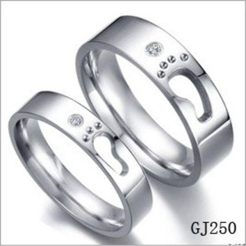 PEAPIX3 Special Foot Print Couple Promise Rings LOVE Step Hollow Design (One Piece Price) = 1930253380
