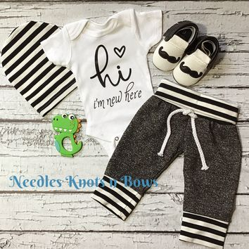 2327c52d4 Baby Boys Onesuit, Boys Coming Home Outfit, Newborn Clothes / Ou.