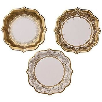 Gold and White Pattern Dinner Paper Plates