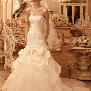 Casablanca Bridal 2100 Strapless Ruched Fit & Flare Wedding Dress