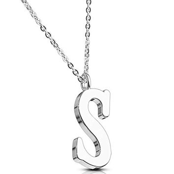 BodyJ4You Necklace Letter S Initial Alphabet Charm S Stainless Steel Chain
