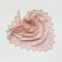 Pink hand knit lace shawl linen scarf gift triangular wrap powder pink peach