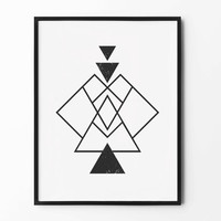 Abstract Geometric Wall Art, Black and White, Wall Decor, Triangle Poster, Scandinavian, Minimalist, Modern Graphic Prints