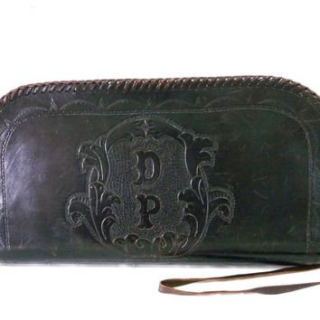 Vintage Hand tooled Wristlet Black Leather Western Clutch Bifcase Flowers Lacing Purse