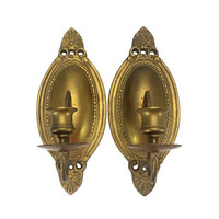 Art Deco Brass Wall Sconces Set Candle Stick Holders Matching Pair Vintage