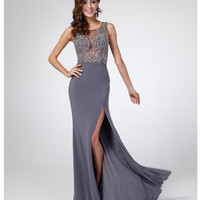 Charcoal Beaded Sheer Bodice Slit Dress 2015 Prom Dresses