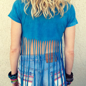 Crop Tee with Fringe Blue Boho Hippie M by UnraveledClothing