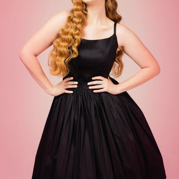Pinup Couture Jenny Dress in Black Sateen - Plus Size