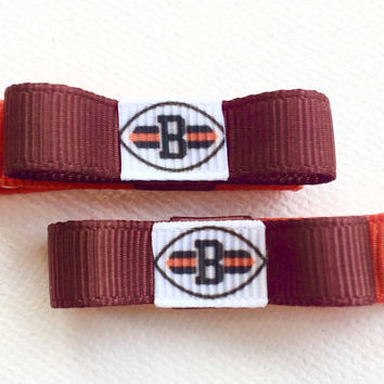 Cleveland Browns hair clips - baby hair clips - toddler hair clips