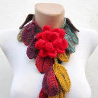 Removeable Brooch Pin Handmade crochet Lariat Scarf  Yellow Red Green  Flower Lariat Scarf Colorful Variegated Long Necklace  winter fashion
