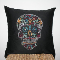 Dias De Los Muertos Pillow with beads and sequences