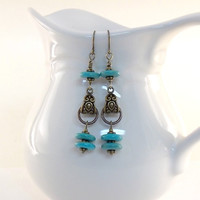 Earrings Turquoise Howlite and Antique Brass