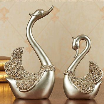 Environmental resin Europe style silver swans artcraft ornaments,one lot/2 pieces,furnishings living room decoration gift a2411