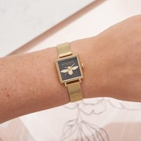 SQUARE DIAL 3D BEE GOLD MESH WATCH