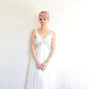 1960 sheer beaded wedding gown . regal mod bride maxi dress .small.medium