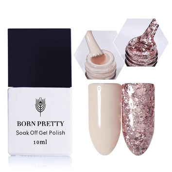 BORN PRETTY 2 Bottles 10ml Nude Nail Gel Pink Glitter Sequins Gel Soak Off Manicure Nail Art UV Gel Polish Needed UV/LED lamp