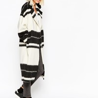 ASOS WHITE Overcoat in Monochrome Stripe at asos.com