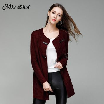 Mix Wind 2017 Autumn And Winter New Women's Large Size Solid Color Knitted Cardigan Sweater In The Long Sweater Jacket Female