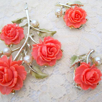 Flashsale Coral Celluloid Brooch Earrings Carved Roses