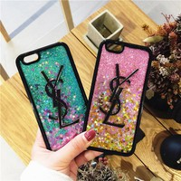 Yves Saint Laurent Quicksand glitter Phone Case For iPhone 7 7Plus 6 6s Plus